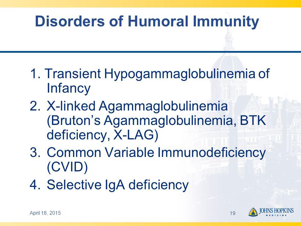 April 18, 201519 Disorders of Humoral Immunity 1.