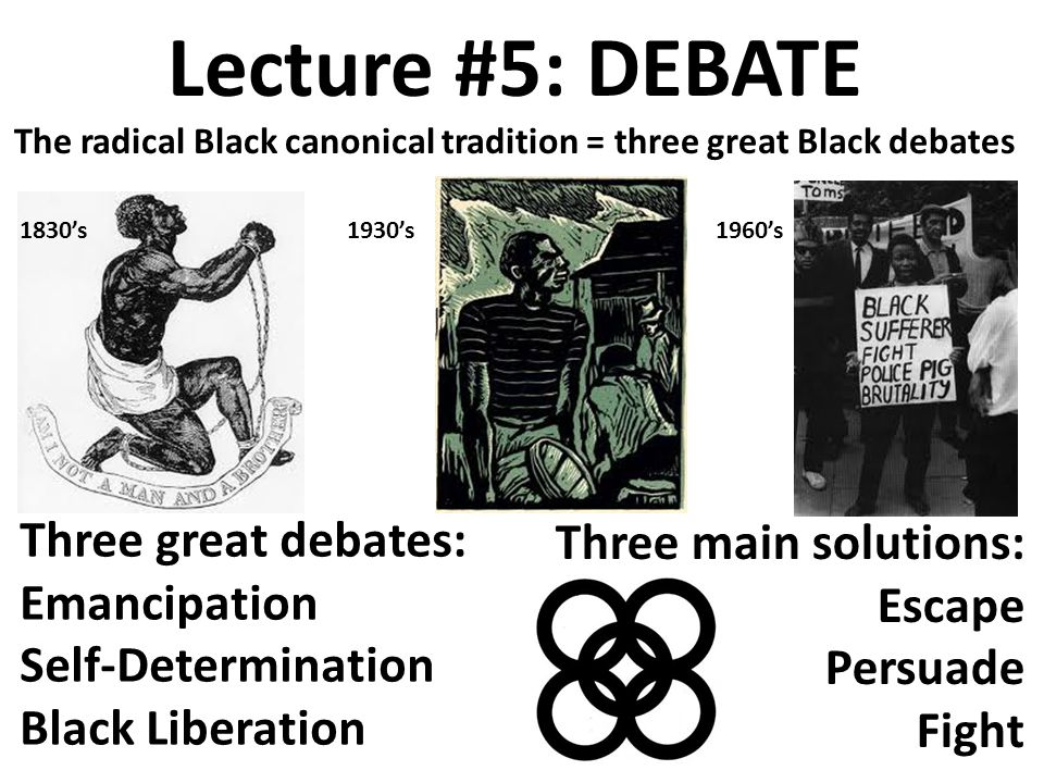 Lecture #5: DEBATE The radical Black canonical tradition = three great Black debates Three great debates: Emancipation Self-Determination Black Liberation Three main solutions: Escape Persuade Fight 1830's1930's1960's