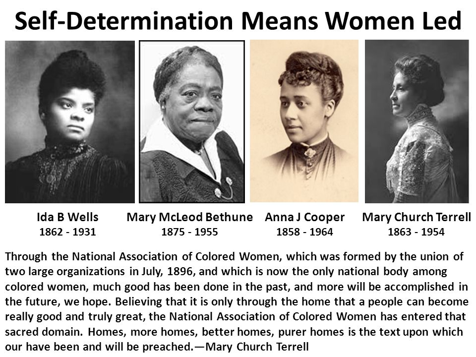 Mary Church Terrell 1863 - 1954 Anna J Cooper 1858 - 1964 Self-Determination Means Women Led Ida B Wells 1862 - 1931 Mary McLeod Bethune 1875 - 1955 T