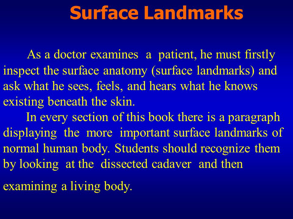 Surface Landmarks As a doctor examines a patient, he must firstly inspect the surface anatomy (surface landmarks) and ask what he sees, feels, and hears what he knows existing beneath the skin.