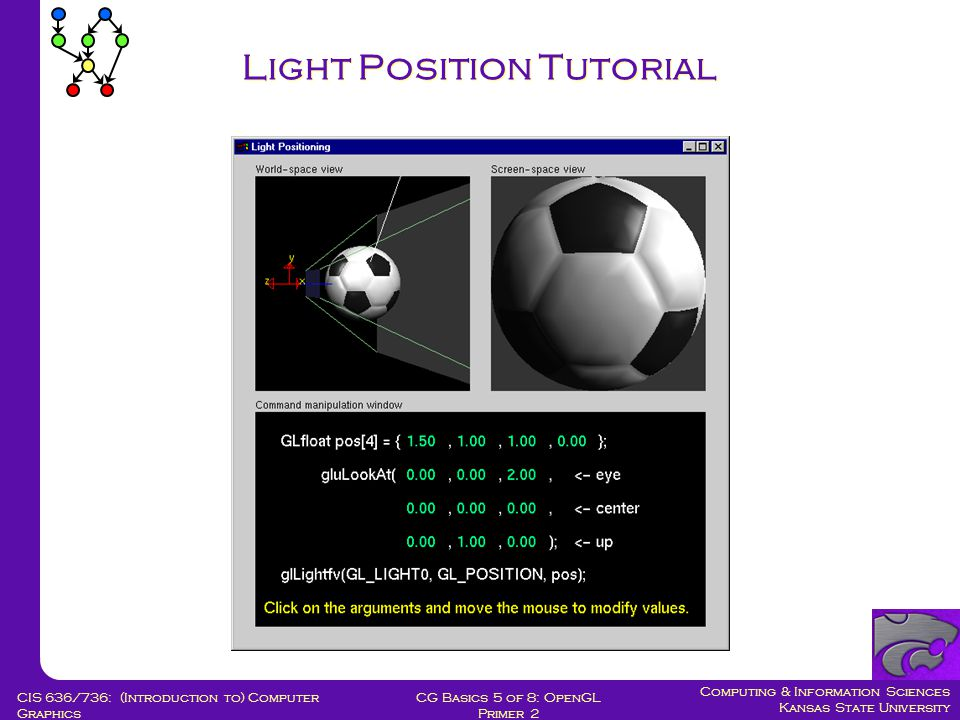 Computing & Information Sciences Kansas State University CG Basics 5 of 8: OpenGL Primer 2 CIS 636/736: (Introduction to) Computer Graphics Light Position Tutorial