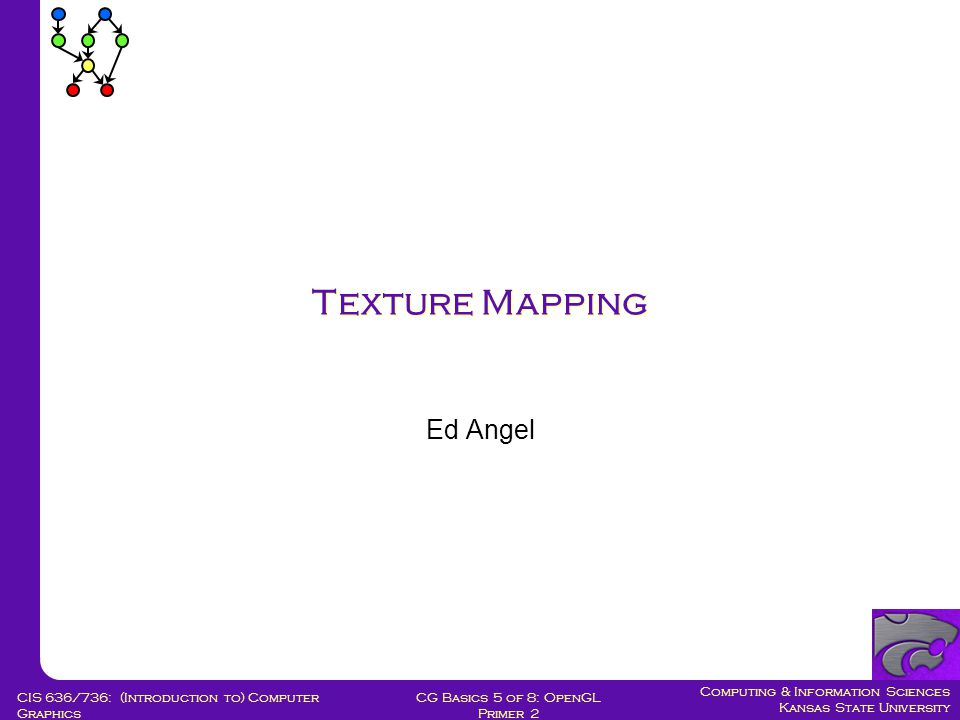Computing & Information Sciences Kansas State University CG Basics 5 of 8: OpenGL Primer 2 CIS 636/736: (Introduction to) Computer Graphics Texture Mapping Ed Angel
