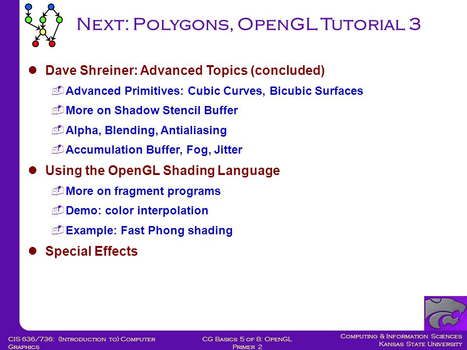 Computing & Information Sciences Kansas State University CG Basics 5 of 8: OpenGL Primer 2 CIS 636/736: (Introduction to) Computer Graphics Next: Polygons, OpenGL Tutorial 3 Dave Shreiner: Advanced Topics (concluded)  Advanced Primitives: Cubic Curves, Bicubic Surfaces  More on Shadow Stencil Buffer  Alpha, Blending, Antialiasing  Accumulation Buffer, Fog, Jitter Using the OpenGL Shading Language  More on fragment programs  Demo: color interpolation  Example: Fast Phong shading Special Effects