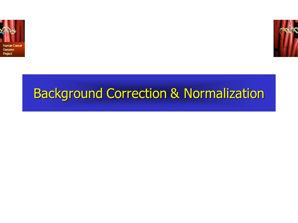 Human Cancer Genome Project Background Correction & Normalization