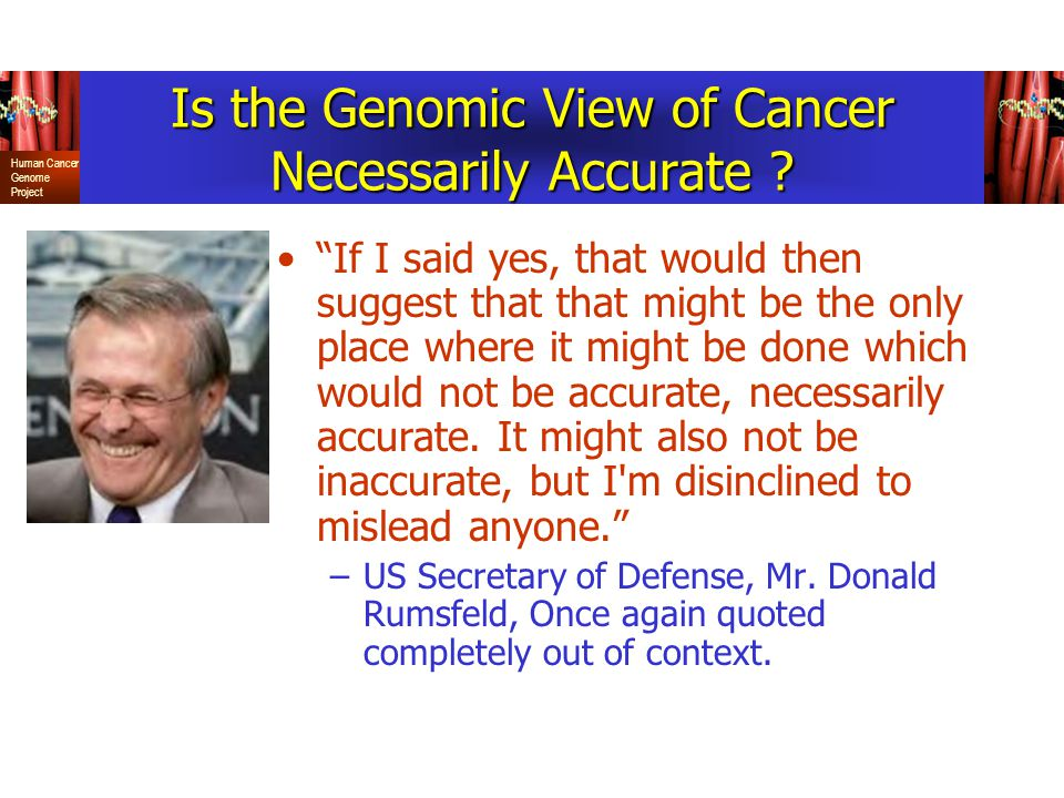 Human Cancer Genome Project Is the Genomic View of Cancer Necessarily Accurate .