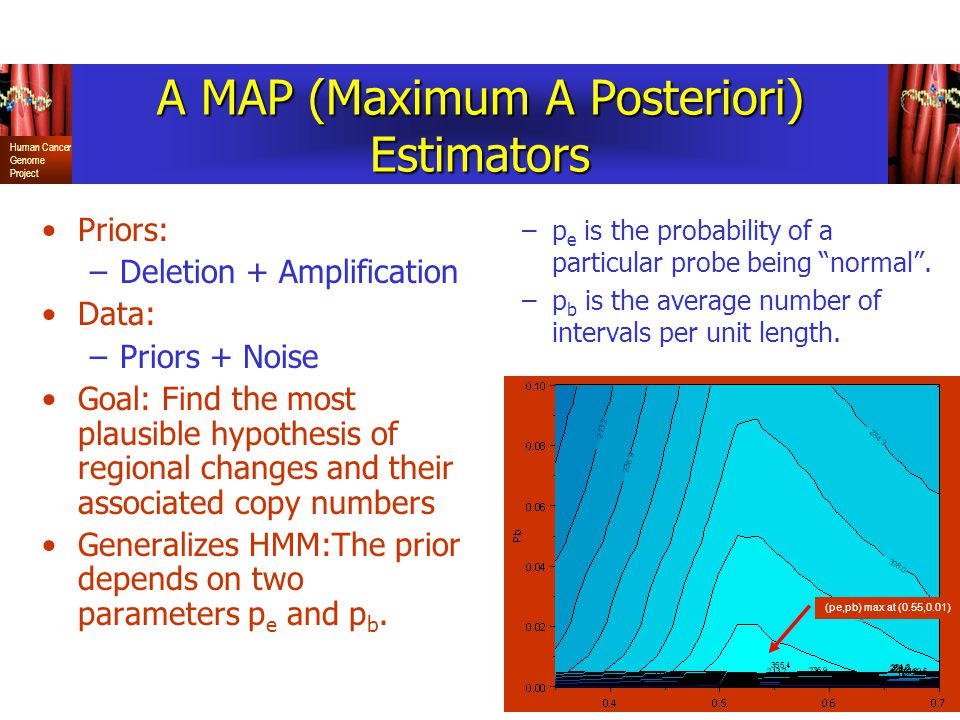 Human Cancer Genome Project A MAP (Maximum A Posteriori) Estimators Priors: –Deletion + Amplification Data: –Priors + Noise Goal: Find the most plausible hypothesis of regional changes and their associated copy numbers Generalizes HMM:The prior depends on two parameters p e and p b.