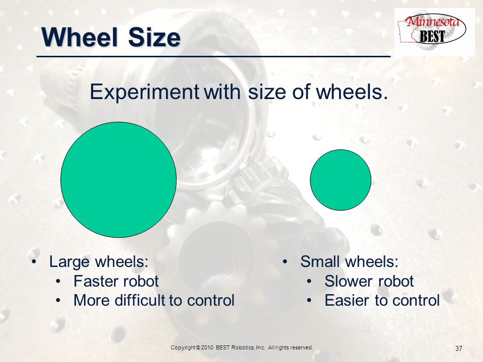 Wheel Size Experiment with size of wheels. Copyright © 2010 BEST Robotics, Inc.