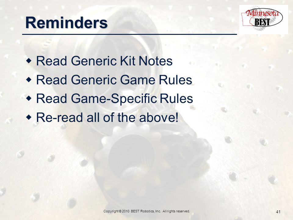 Reminders  Read Generic Kit Notes  Read Generic Game Rules  Read Game-Specific Rules  Re-read all of the above.