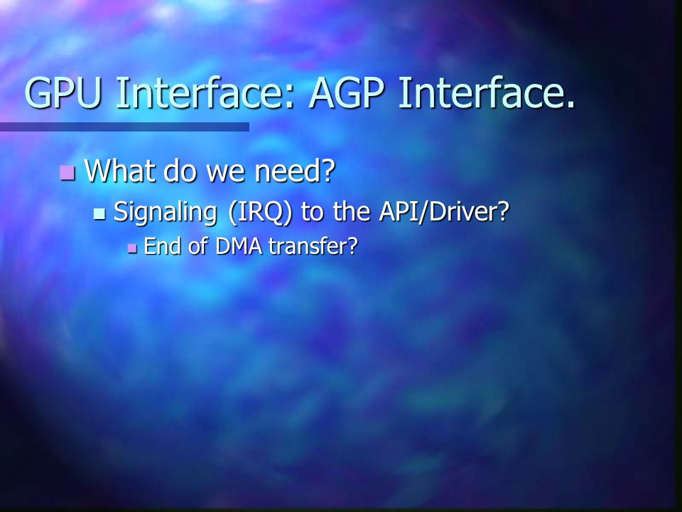 GPU Interface: AGP Interface. What do we need. What do we need.