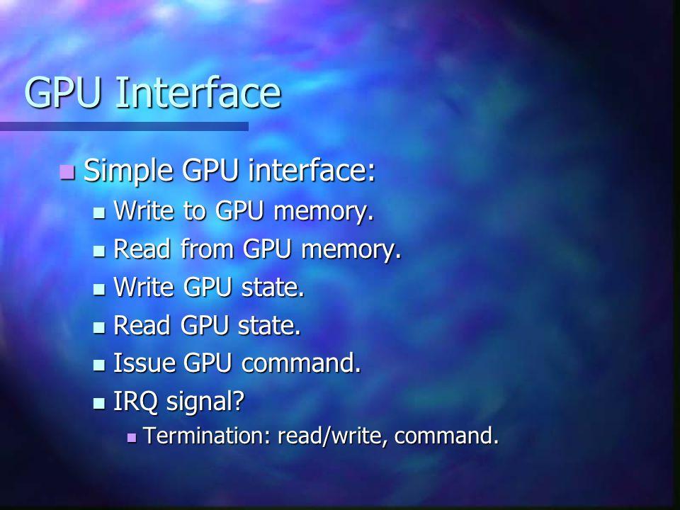 GPU Interface Simple GPU interface: Simple GPU interface: Write to GPU memory.