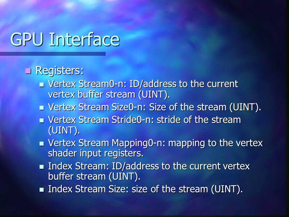 GPU Interface Registers: Registers: Vertex Stream0-n: ID/address to the current vertex buffer stream (UINT).