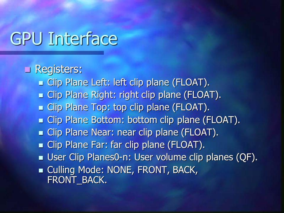 GPU Interface Registers: Registers: Clip Plane Left: left clip plane (FLOAT).