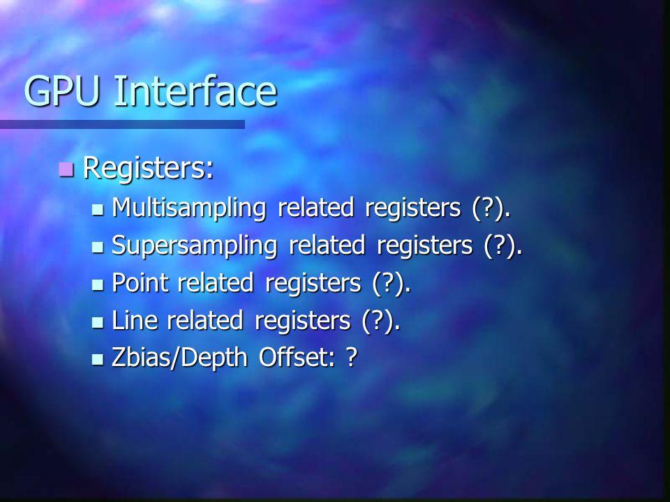 GPU Interface Registers: Registers: Multisampling related registers ( ).