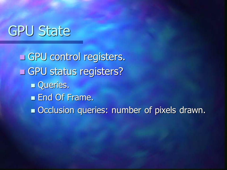 GPU State GPU control registers. GPU control registers.