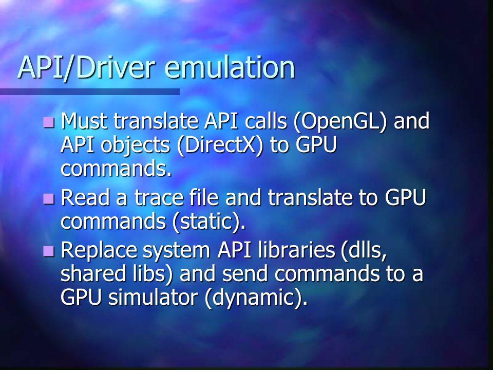 API/Driver emulation Must translate API calls (OpenGL) and API objects (DirectX) to GPU commands.