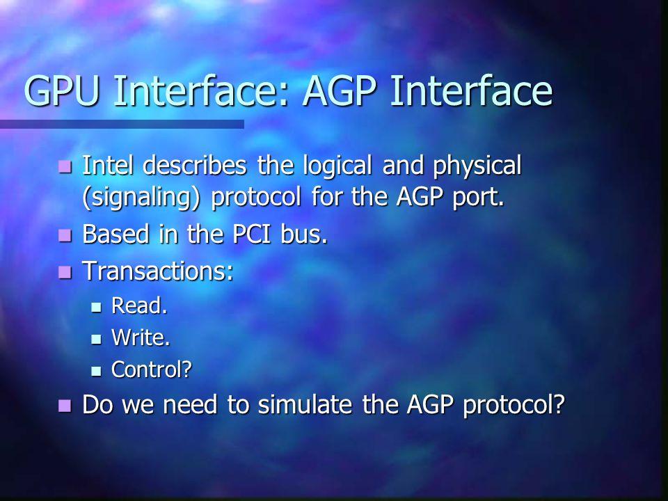 GPU Interface: AGP Interface What do we need.What do we need.