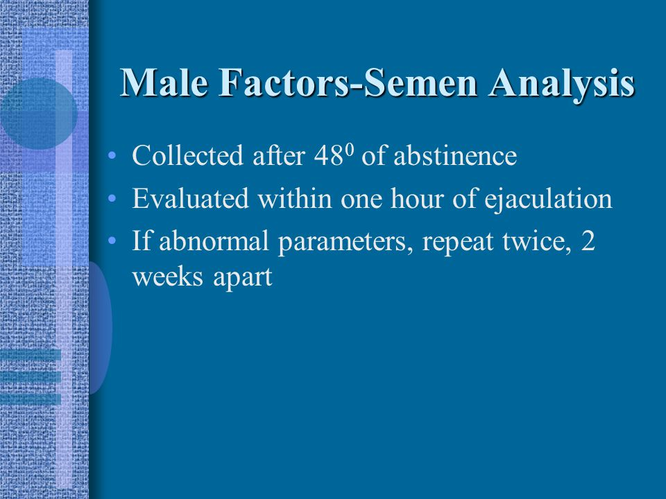 Male Factors Serum T, FSH, PRL levels Semen analysis Testicular biopsy Sperm penetration assay (SPA)