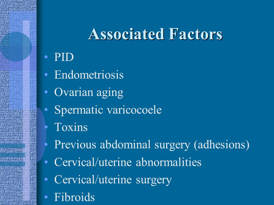 Etiologies Sperm disorders 30.6% Anovulation/oligoovulation 30% Tubal disease 16% Unexplained 13.4% Cx factors 5.2% Peritoneal factors 4.8%