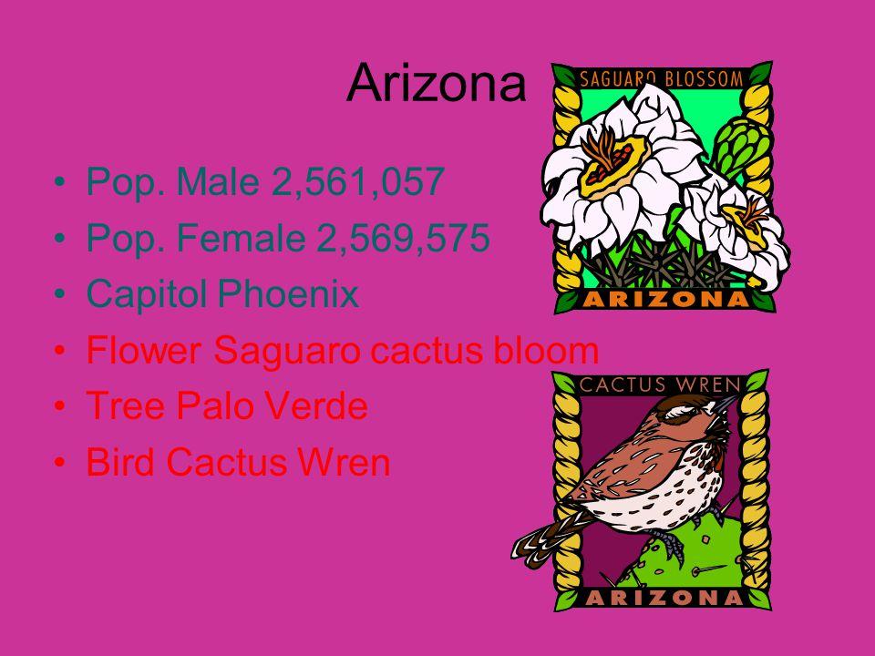 Arizona Pop. Male 2,561,057 Pop.