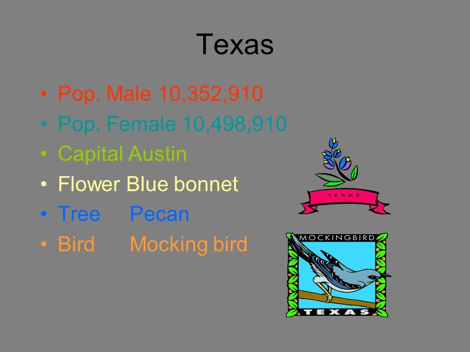 Texas Pop. Male 10,352,910 Pop.
