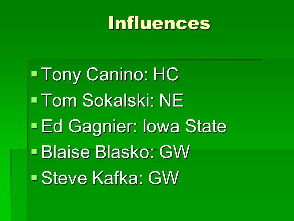 Influences  Tony Canino: HC  Tom Sokalski: NE  Ed Gagnier: Iowa State  Blaise Blasko: GW  Steve Kafka: GW