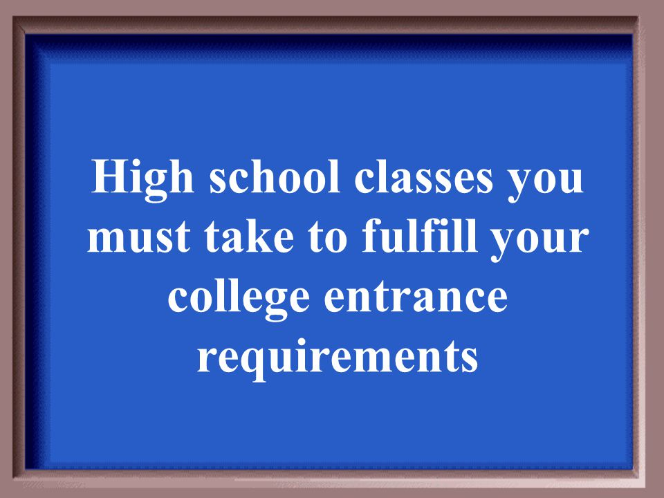 High school classes you must take to fulfill your college entrance requirements