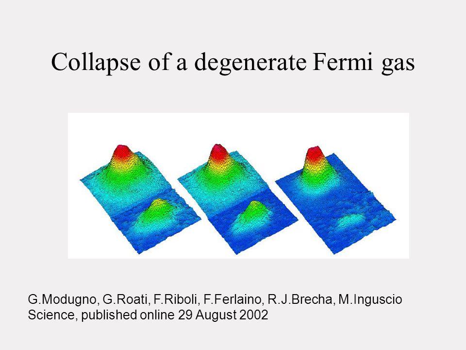 Collapse of a degenerate Fermi gas G.Modugno, G.Roati, F.Riboli, F.Ferlaino, R.J.Brecha, M.Inguscio Science, published online 29 August 2002