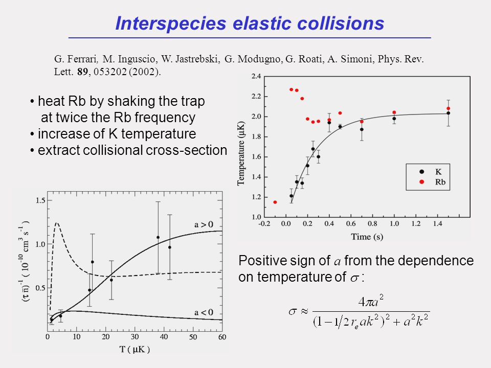 Interspecies elastic collisions ___________________________________________________ heat Rb by shaking the trap at twice the Rb frequency increase of K temperature extract collisional cross-section G.