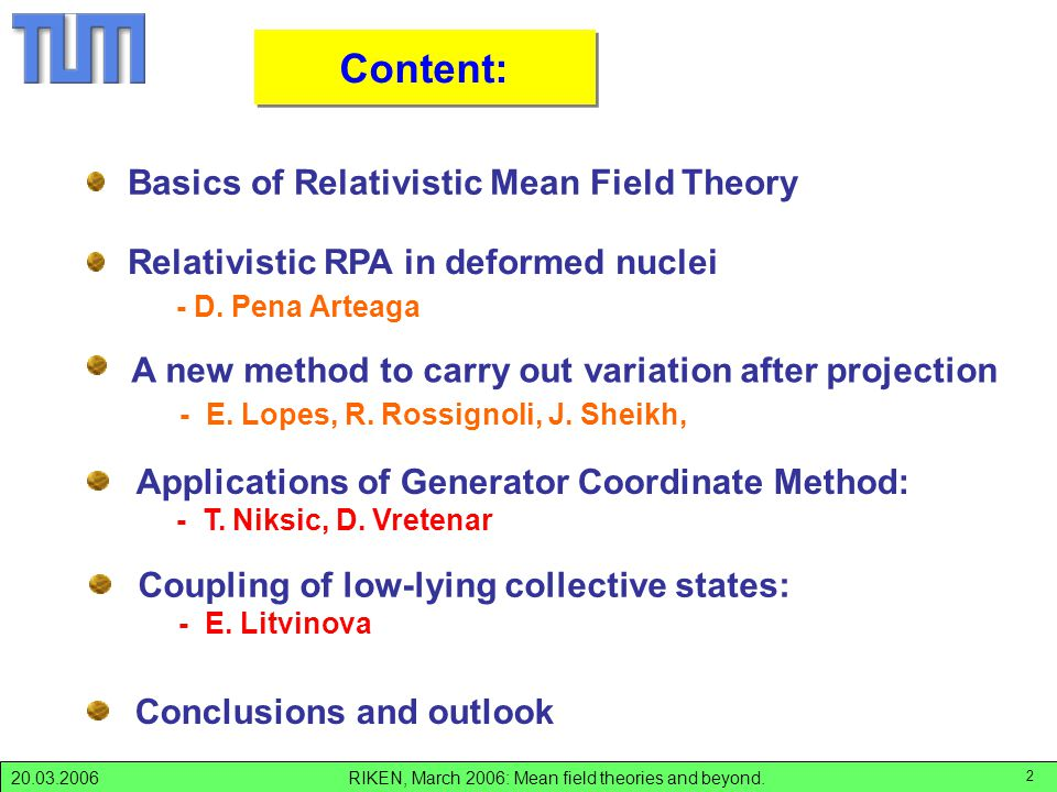 RIKEN, March 2006: Mean field theories and beyond.20.03.2006 2 Content: Basics of Relativistic Mean Field Theory Conclusions and outlook Applications of Generator Coordinate Method: - T.
