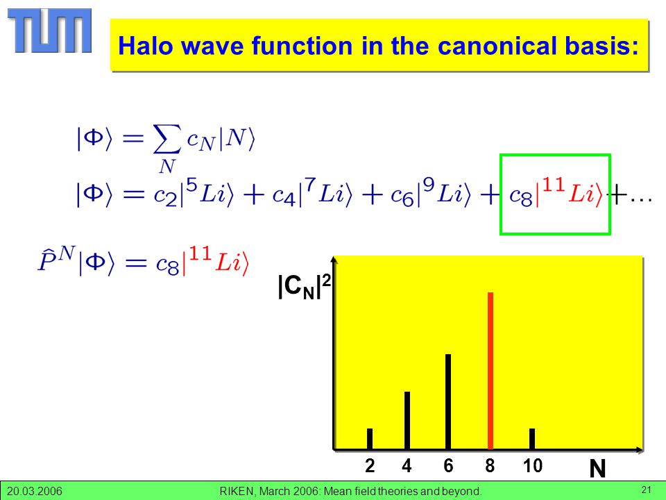 RIKEN, March 2006: Mean field theories and beyond.20.03.2006 21 |C N | 2 N 246810 decomposition of |Li> Halo wave function in the canonical basis: