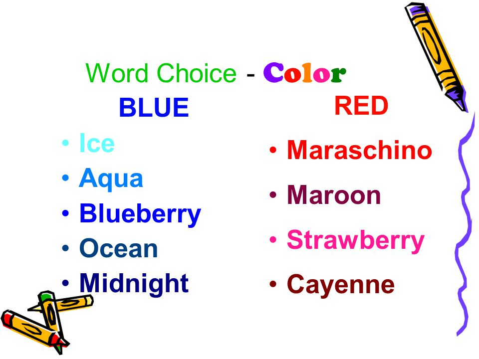 Word Choice - Color RED Maraschino Maroon Strawberry Cayenne BLUE Ice Aqua Blueberry Ocean Midnight