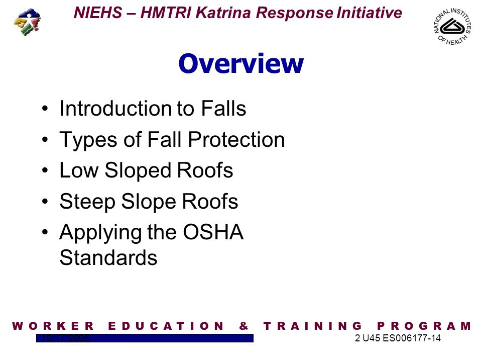 NIEHS – HMTRI Katrina Response Initiative 10/17/20052 U45 ES006177-14 Overview Introduction to Falls Types of Fall Protection Low Sloped Roofs Steep Slope Roofs Applying the OSHA Standards