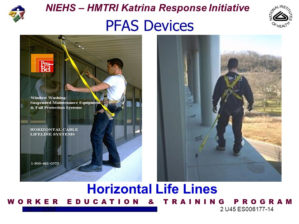 NIEHS – HMTRI Katrina Response Initiative 10/17/20052 U45 ES006177-14 PFAS Devices Horizontal Life Lines
