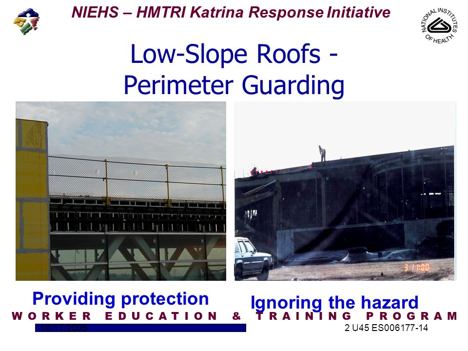NIEHS – HMTRI Katrina Response Initiative 10/17/20052 U45 ES006177-14 Low-Slope Roofs - Perimeter Guarding Providing protection Ignoring the hazard