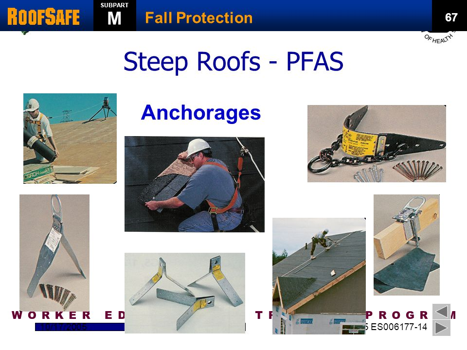 NIEHS – HMTRI Katrina Response Initiative 10/17/20052 U45 ES006177-14 Steep Roofs - PFAS Anchorages 67 Fall Protection SUBPART M