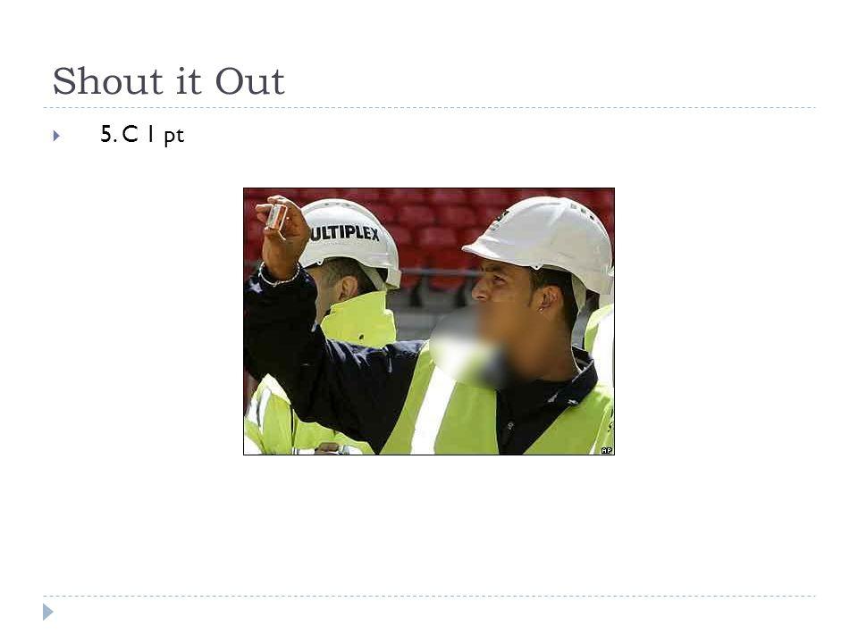Shout it Out  5. C 1 pt