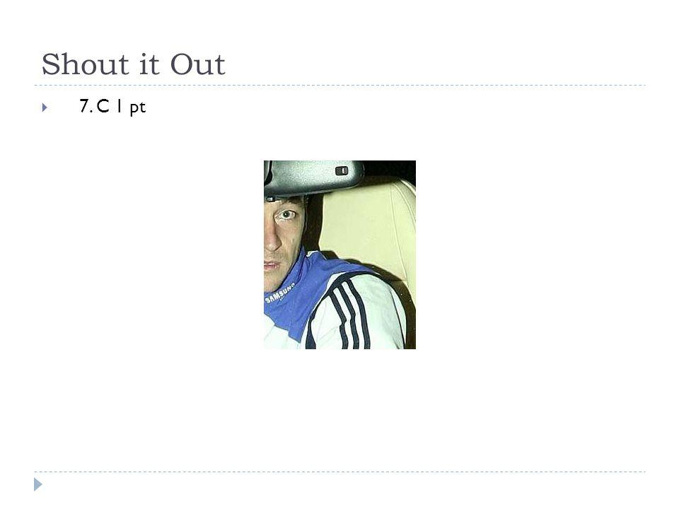 Shout it Out  7. C 1 pt