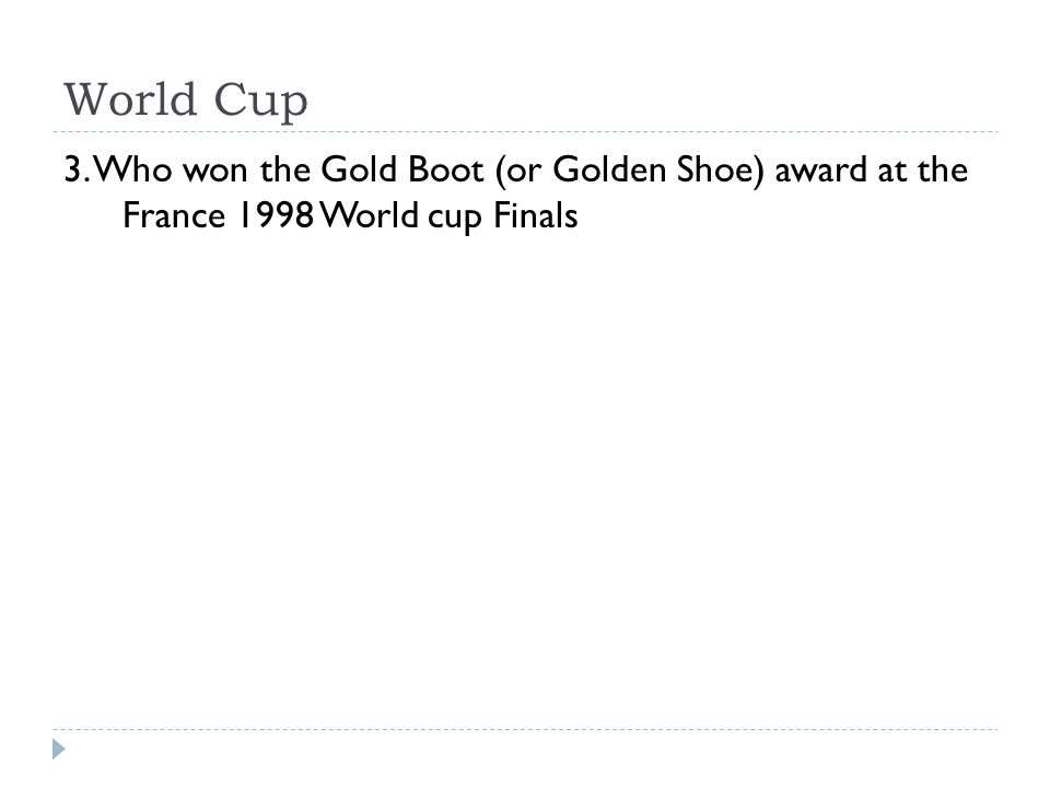 World Cup 3. Who won the Gold Boot (or Golden Shoe) award at the France 1998 World cup Finals