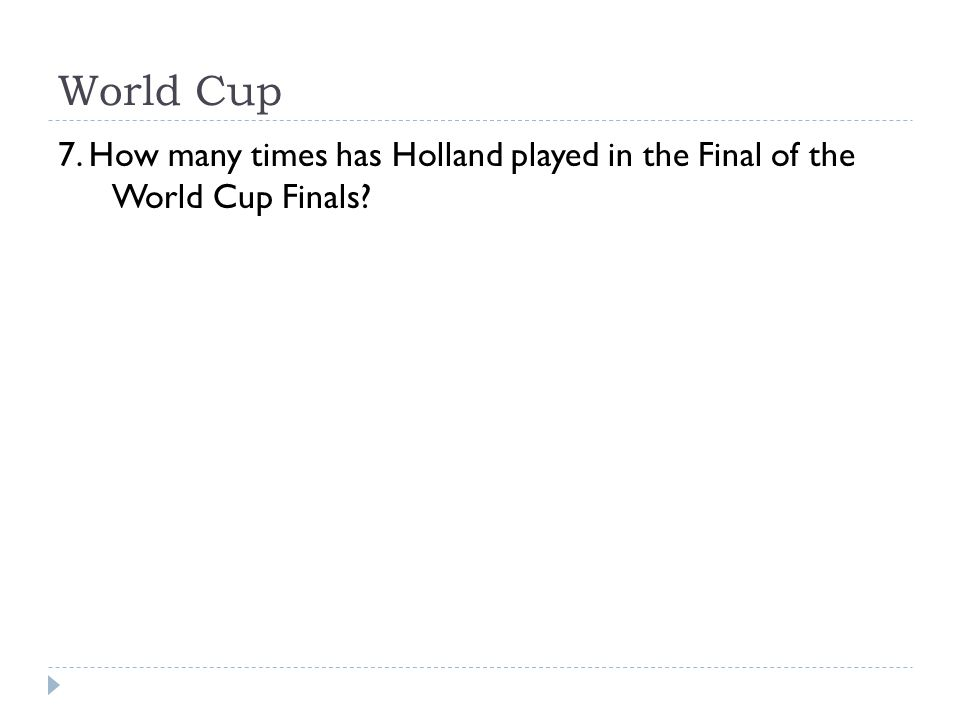 World Cup 7. How many times has Holland played in the Final of the World Cup Finals?