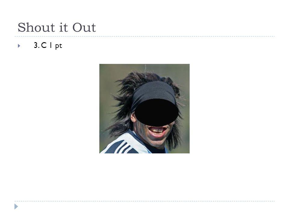 Shout it Out  3. C 1 pt