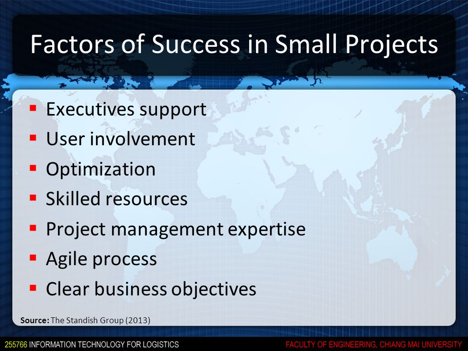 Factors of Success in Small Projects  Executives support  User involvement  Optimization  Skilled resources  Project management expertise  Agile process  Clear business objectives Source: The Standish Group (2013)
