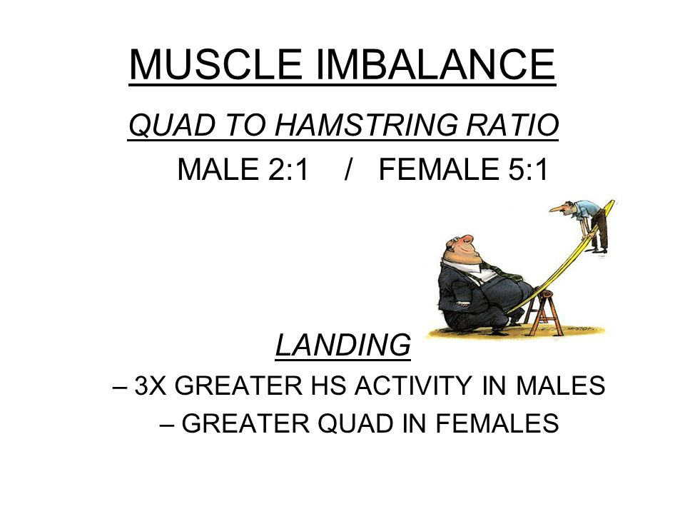 MUSCLE IMBALANCE QUAD TO HAMSTRING RATIO MALE 2:1 / FEMALE 5:1 LANDING –3X GREATER HS ACTIVITY IN MALES –GREATER QUAD IN FEMALES