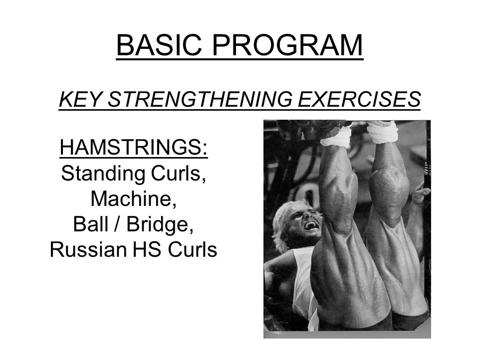 BASIC PROGRAM KEY STRENGTHENING EXERCISES HAMSTRINGS: Standing Curls, Machine, Ball / Bridge, Russian HS Curls