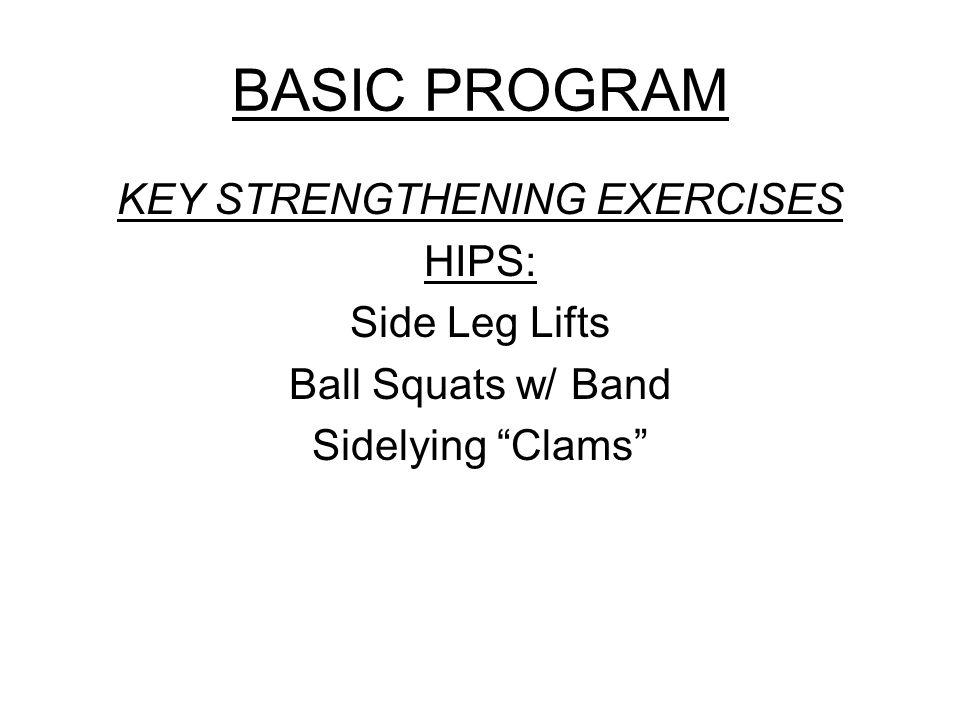 BASIC PROGRAM KEY STRENGTHENING EXERCISES HIPS: Side Leg Lifts Ball Squats w/ Band Sidelying Clams