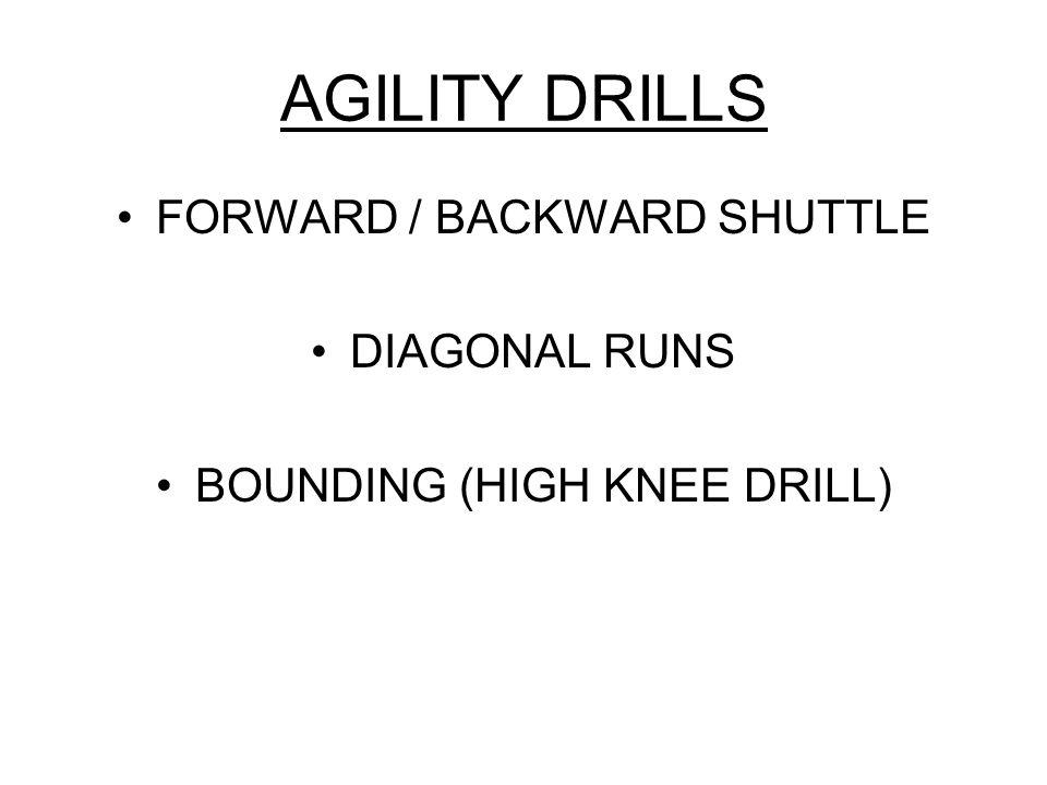 AGILITY DRILLS FORWARD / BACKWARD SHUTTLE DIAGONAL RUNS BOUNDING (HIGH KNEE DRILL)