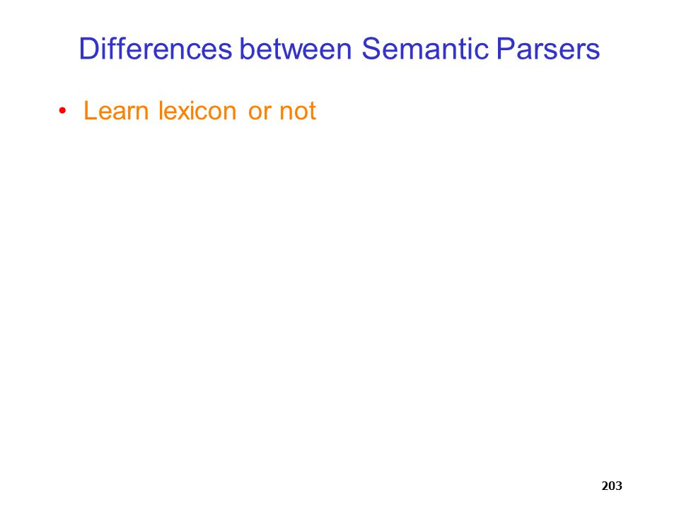 203 Differences between Semantic Parsers Learn lexicon or not