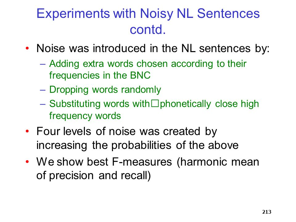 213 Experiments with Noisy NL Sentences contd.