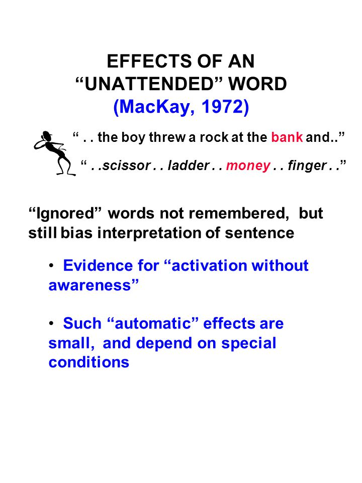 "EFFECTS OF AN ""UNATTENDED"" WORD (MacKay, 1972) "".. the boy threw a rock at the bank and.."" ""..scissor.. ladder.. money.. finger.."" ""Ignored"" words not"