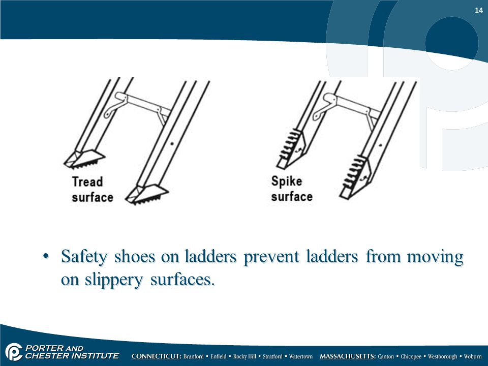 14 Safety shoes on ladders prevent ladders from moving on slippery surfaces.