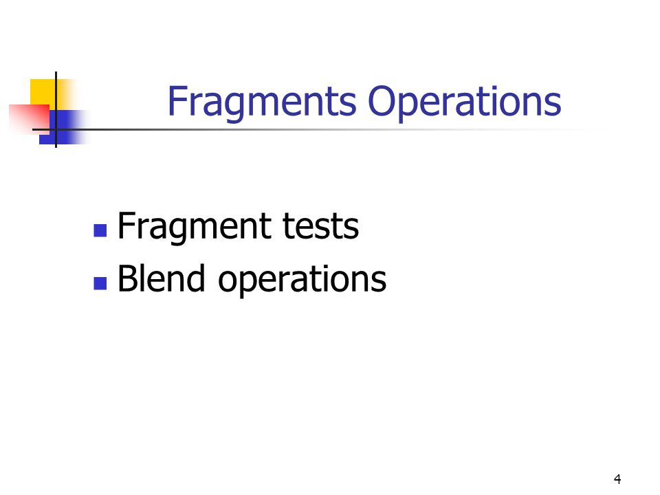 Fragments Operations Fragment tests Blend operations 4